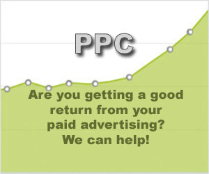 Image using light green graph rising from left to right with large font PPC text.