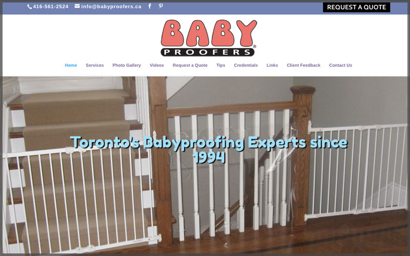 Home page of www.babyproofers.ca website.