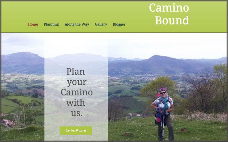 Home page of www.caminobound.com website.