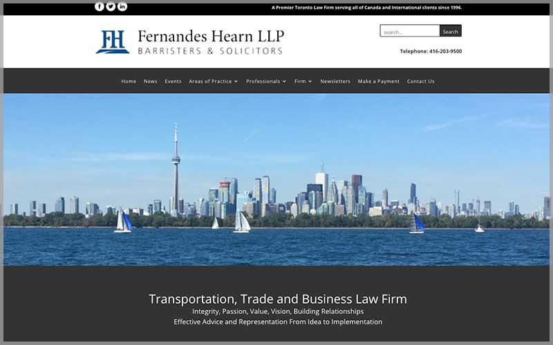 Screenshot of Fernandeshearn.com website.