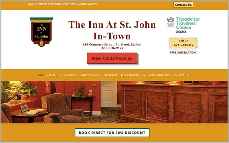 Screenshot of Innatstjohn.com website.